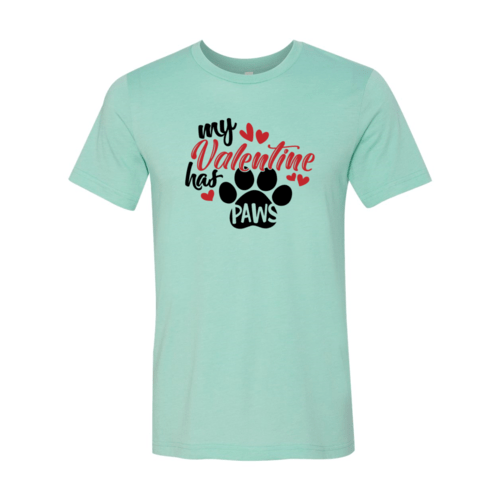 Red Alcestis T-shirts 2XL / Heather Mint My Valentine Has Paws Shirt