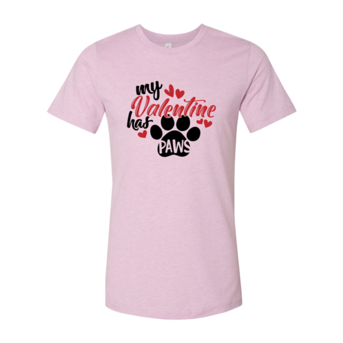 Red Alcestis T-shirts 2XL / Heather Prism Lilac My Valentine Has Paws Shirt