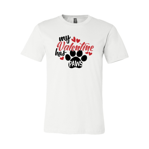 Red Alcestis T-shirts 2XL / White My Valentine Has Paws Shirt