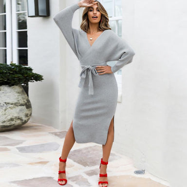 Silver Sam Dresses Batwing Sleeve Knitted Sweater Dress with Sashes