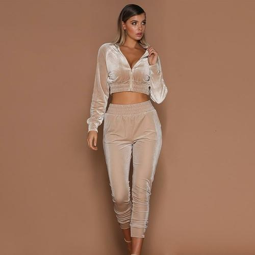 Silver Sam Matching Sets L / apricot Velvet Running Set Women Winter Sport Suit Tracksuit Sweat Pants