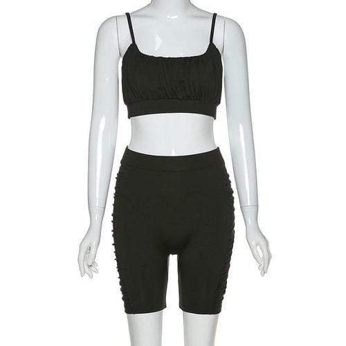 Silver Sam Matching Sets L / black Solid Color Ruched Sleeveless Crop Top and Shorts Two-piece Set