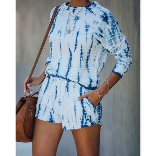 Silver Sam Matching Sets L / blue O Neck Tie Dye Women Set Shirt Top And Mini Shorts Casual Two Piece
