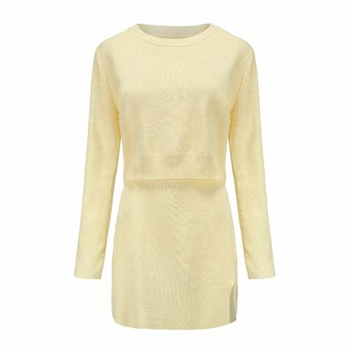Silver Sam Matching Sets L / Yellow Women Knitted Two Piece Set Women Long Sleeve Cropped Top High Waist