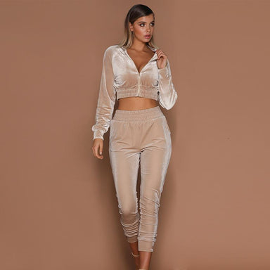 Silver Sam Matching Sets Velvet Running Set Women Winter Sport Suit Tracksuit Sweat Pants