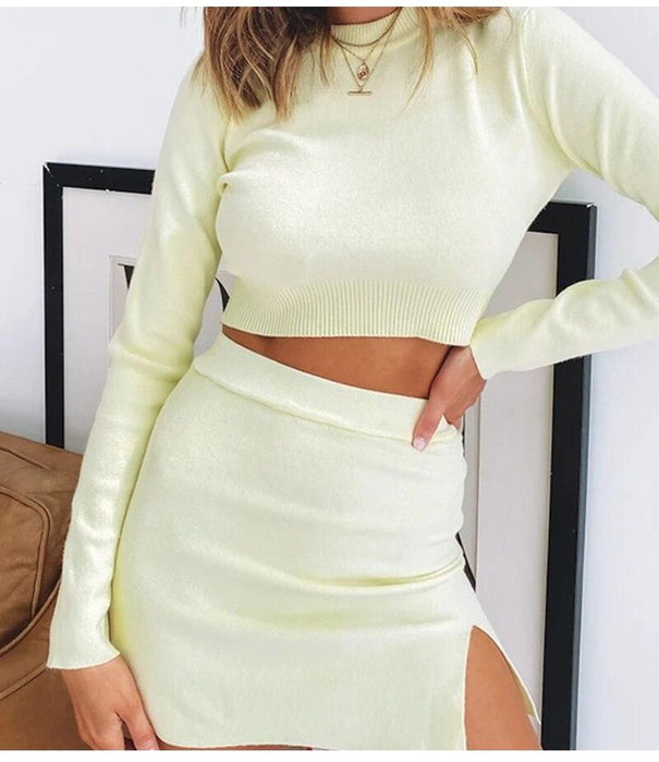 Silver Sam Matching Sets Women Knitted Two Piece Set Women Long Sleeve Cropped Top High Waist