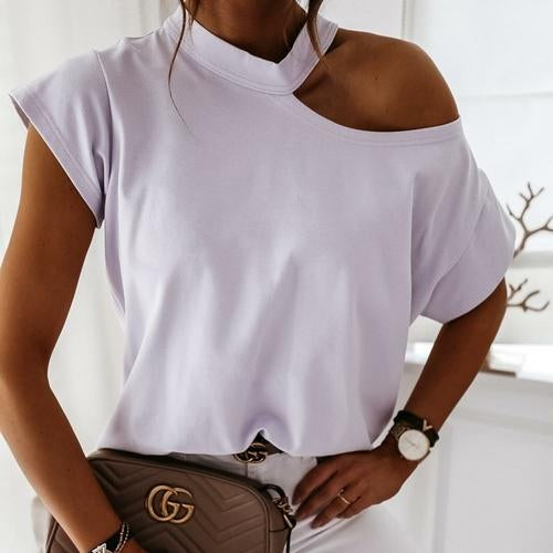 Silver Sam Tops & Blouses L / light purple Solid Halter Short Sleeve Tops Blouse