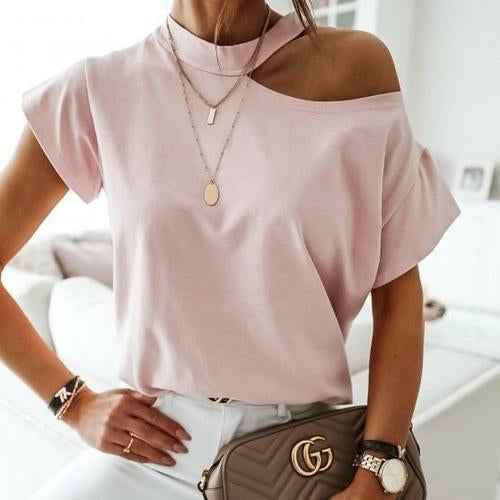 Silver Sam Tops & Blouses L / pink Solid Halter Short Sleeve Tops Blouse
