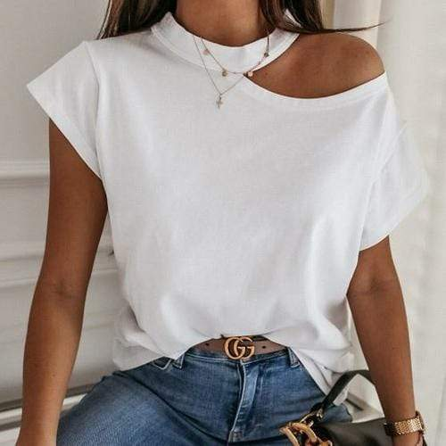 Silver Sam Tops & Blouses L / white Solid Halter Short Sleeve Tops Blouse