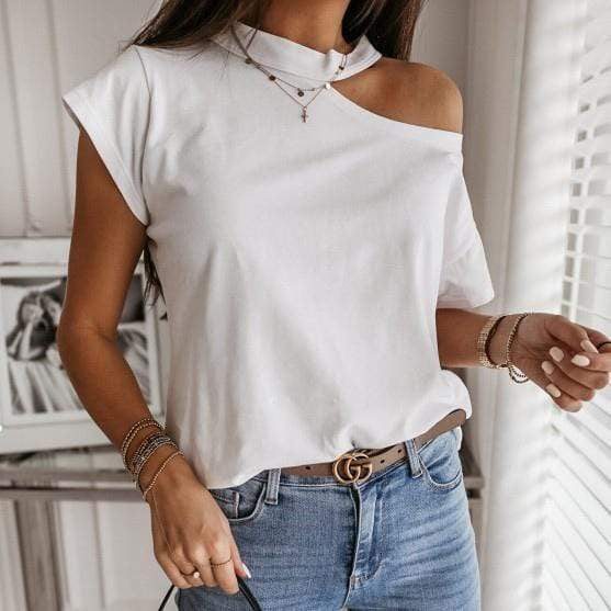 Silver Sam Tops & Blouses Solid Halter Short Sleeve Tops Blouse