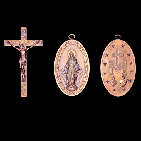 CRUCIFIX & MIRACULOUS MEDAL WALL PLAQUE (sold separately)