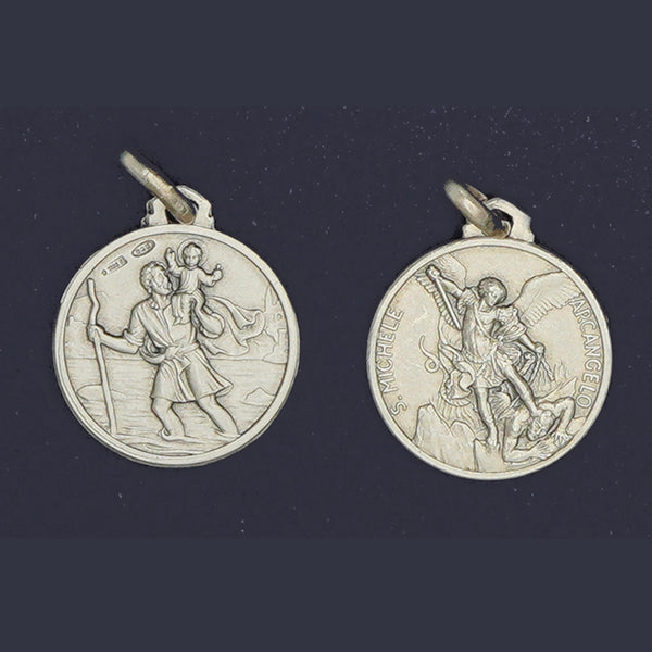 ST. CHRISTOPHER - ST. MICHAEL PENDANT (DOUBLE-SIDED)