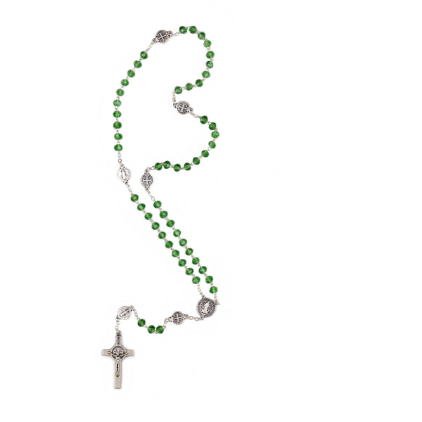 GLASS CRYSTAL ROSARY - ST. BENEDICT