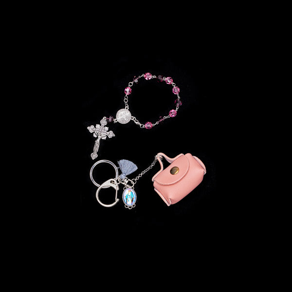 "ROSARY WITH BAG CHARM SET - ""GOD'S GRACE"""