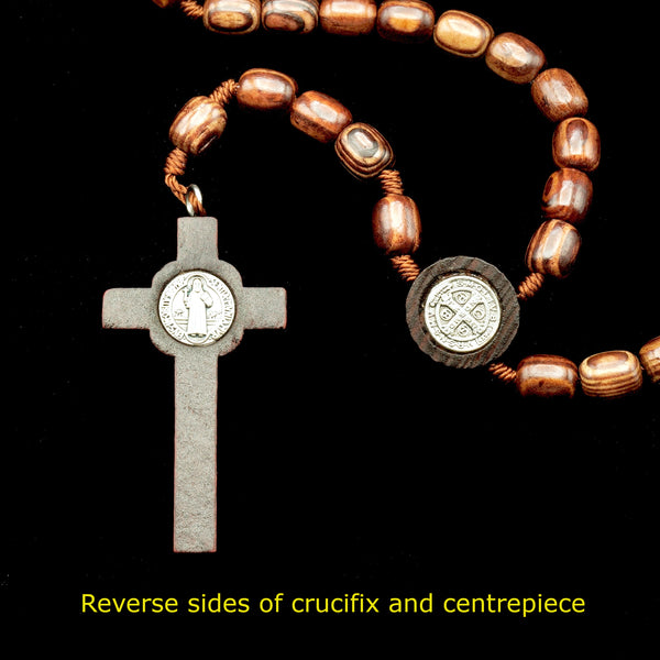 ST. BENEDICT WOOD CORDED ROSARY