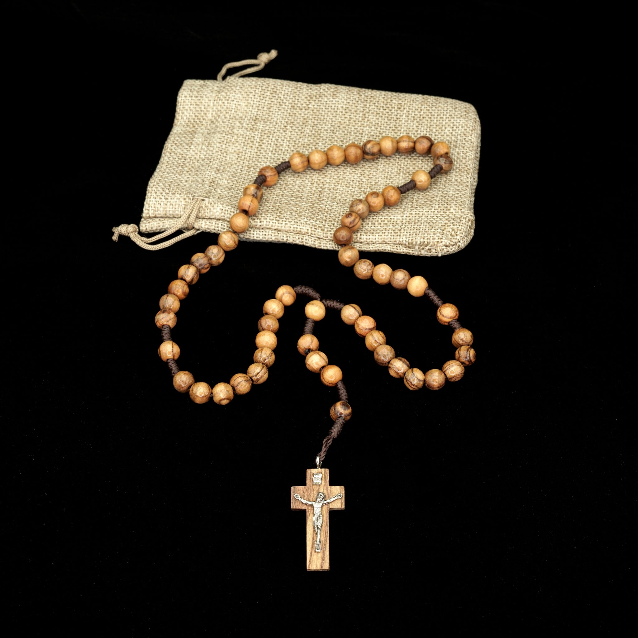 OLIVE WOOD CORDED ROSARY WITH METAL CORPUS