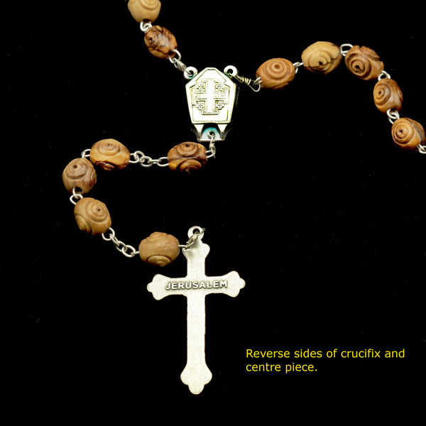 OLIVE WOOD ROSARY JORDAN WATER