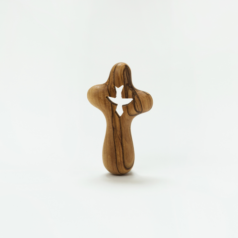 OLIVE WOOD HOLDING PALM CROSS WITH DOVE FROM THE HOLY LAND