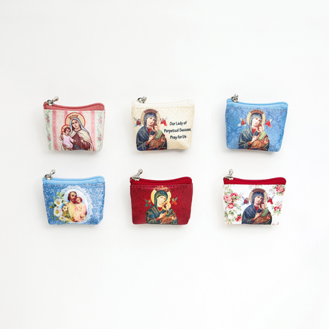 ROSARY POUCHES WITH HOLY PICTURES (SMALL)