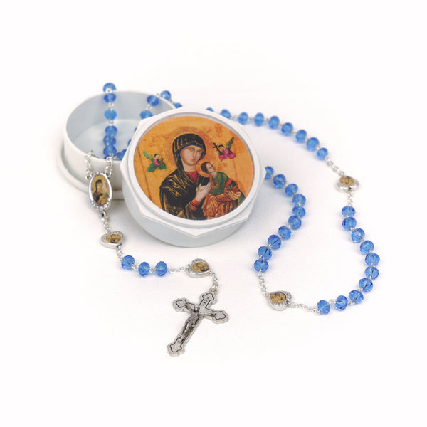 GLASS CRYSTAL ROSARY - OUR MOTHER OF PERPETUAL HELP