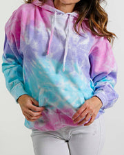 Oversized Cotton Candy Black Classic Tie Dye Hoodie