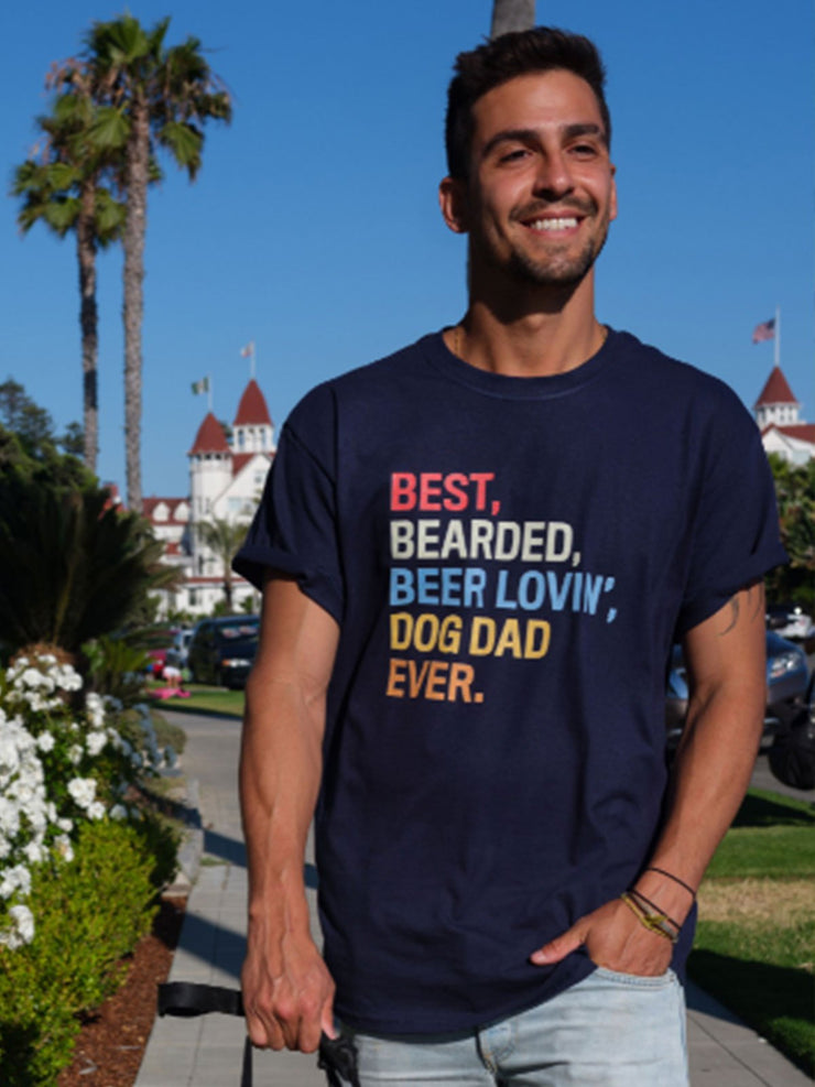 Navy Men's Bearded Dog Dad Tee