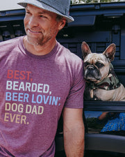 Pawz Bearded Dog Dad Heather Maroon Tee - Pawz