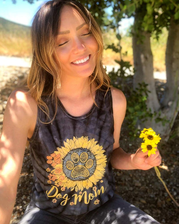 Black Tie Dye Sunflower Dog Mom Tank Top
