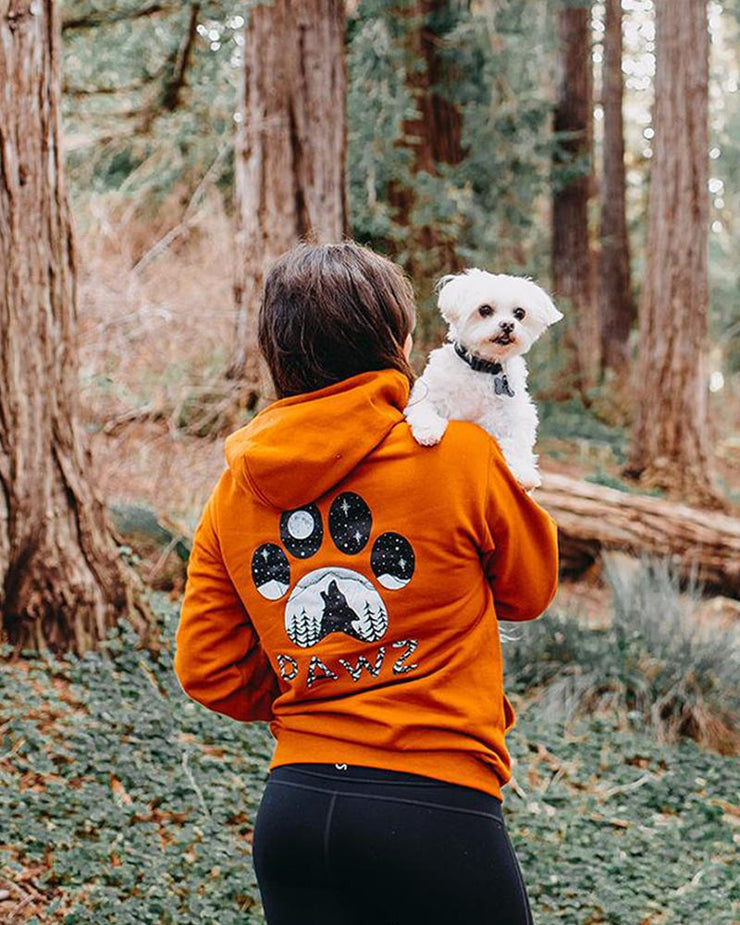 Burnt Orange Howling Wolf Paw Hoodie