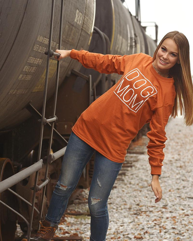 Burnt Orange Simple Dog Mom Long Sleeve