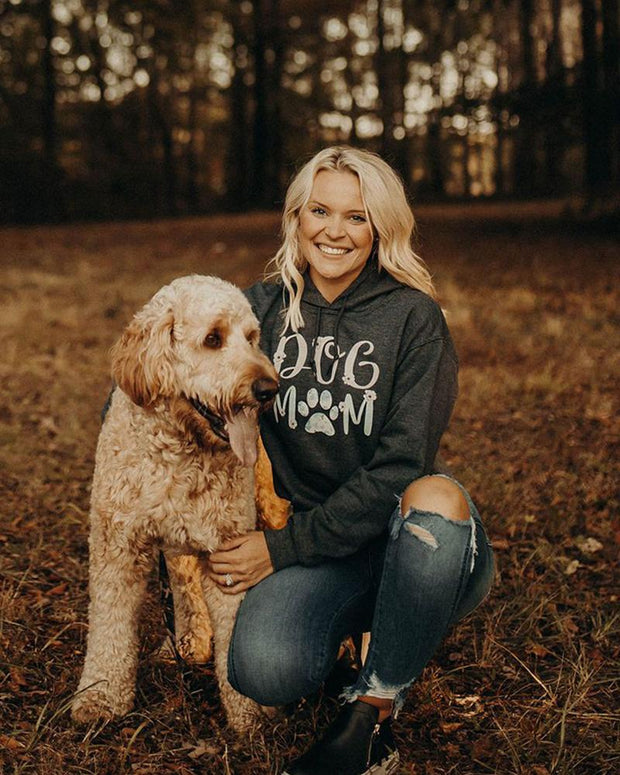 Charcoal Floral Dog Mom Hoodie