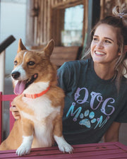 Charcoal Floral Dog Mom Tee