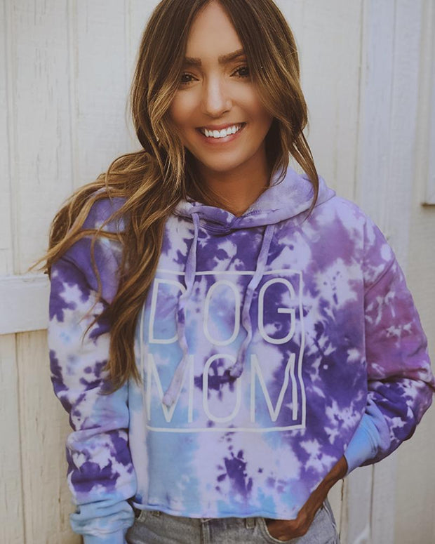 Cotton Candy Simple Dog Mom Tie Dye Cropped Hoodie