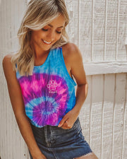 Cotton Candy Tie Dye White Spiral Tank Top