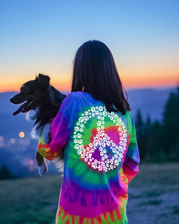 Fluorescent Tie Dye Peace Sign Print Long Sleeve