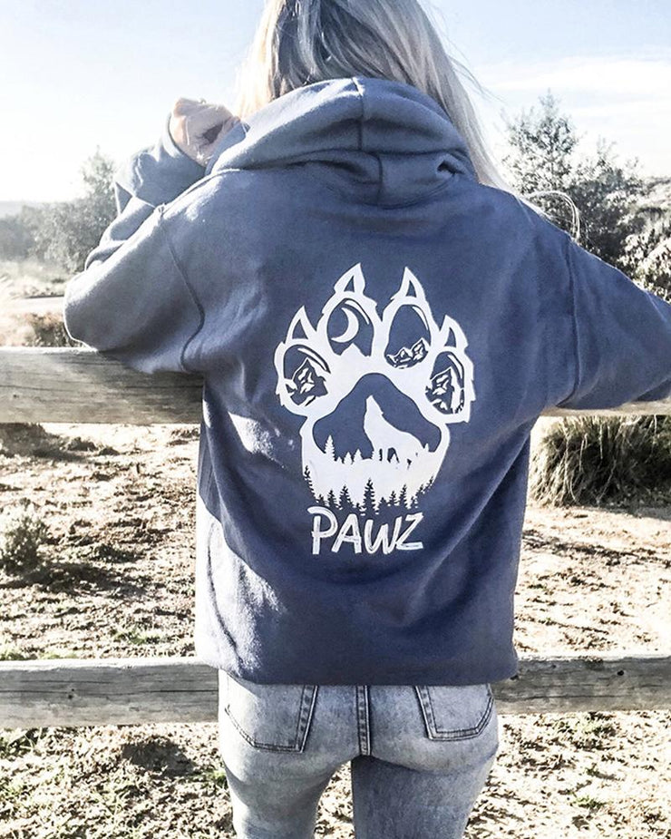Hooded Charcoal Pawz Woof Paw White Print