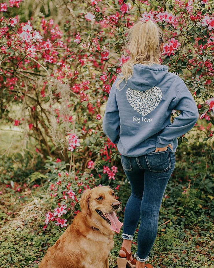 Hooded Indigo White Paw Heart Dog Lover Print