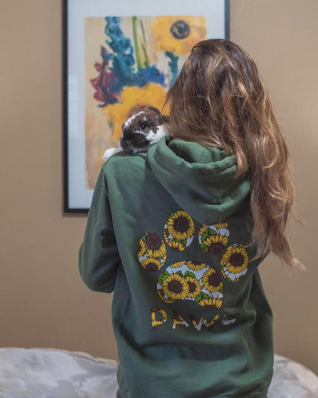 Hooded Olive Sunflower Print - Pawz