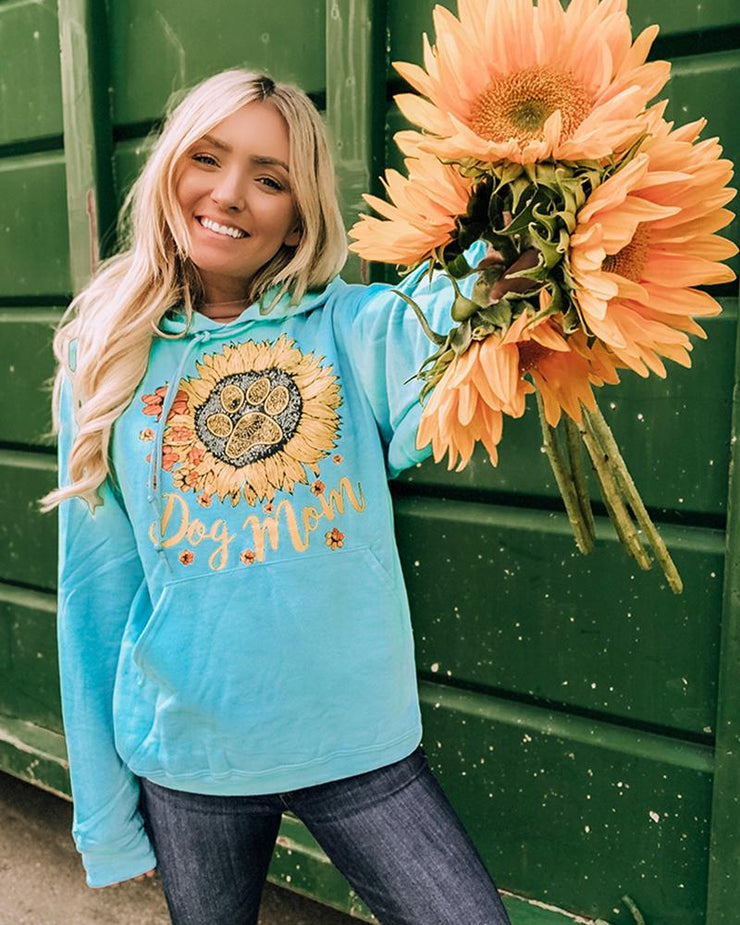 Hooded Turquoise Sunflower Dog Mom Print