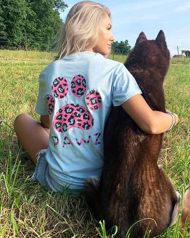 Light Blue Pink Cheetah Tee