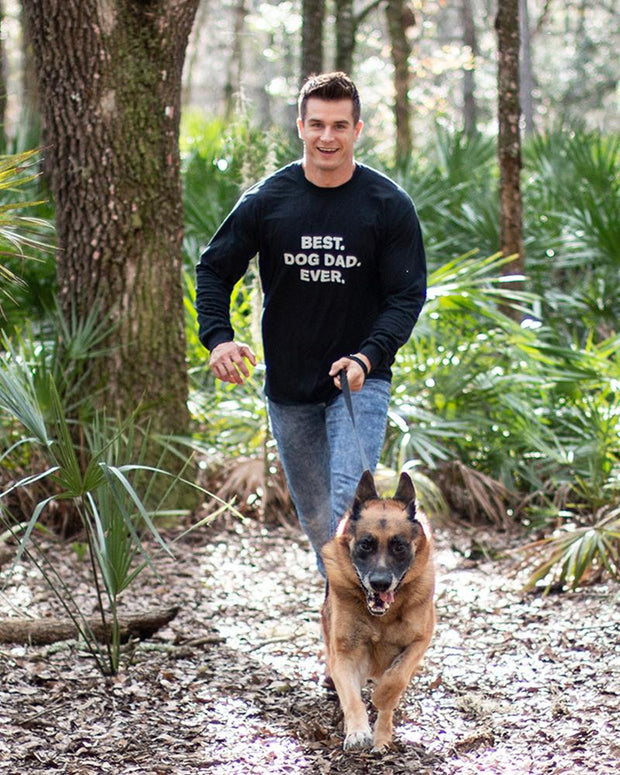 Long Sleeve Black Men's Best Dog Dad Ever Front Print