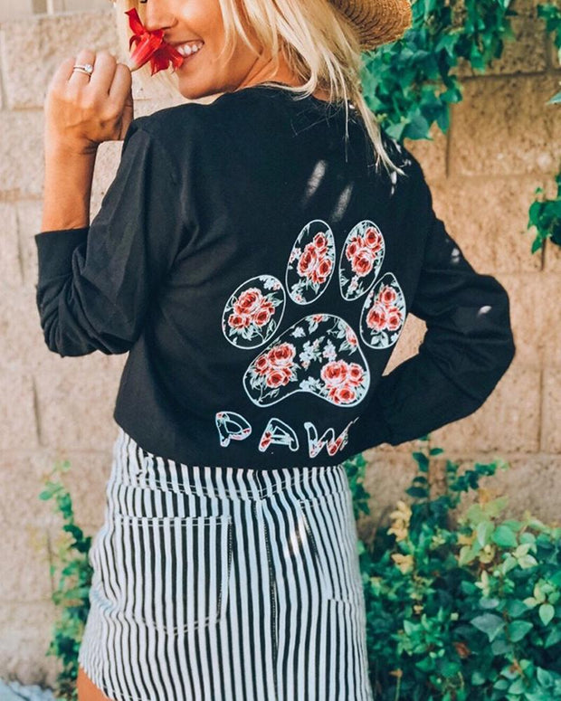 Long Sleeve Black Rose Print