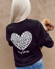 Long Sleeve Black White Paw Heart Dog Lover Print