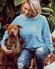 Long Sleeve Carolina Woof Paw White Print