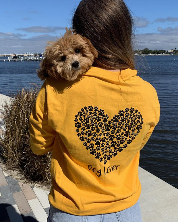 Long Sleeve Gold Black Paw Heart Dog Lover Back Print