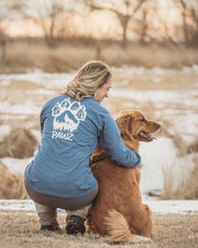 Long Sleeve Indigo Woof Paw White Print