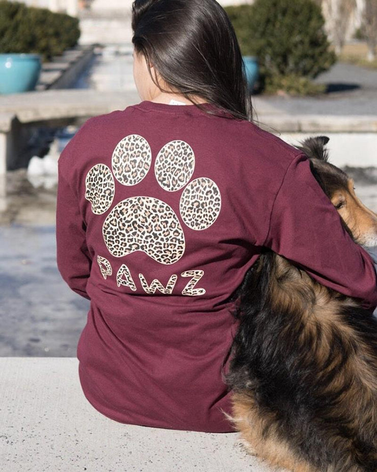 Long Sleeve Maroon Cheetah Print