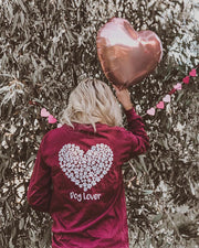 Long Sleeve Maroon White Paw Heart Dog Lover Print
