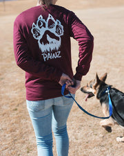 Long Sleeve Maroon Woof Paw White Print