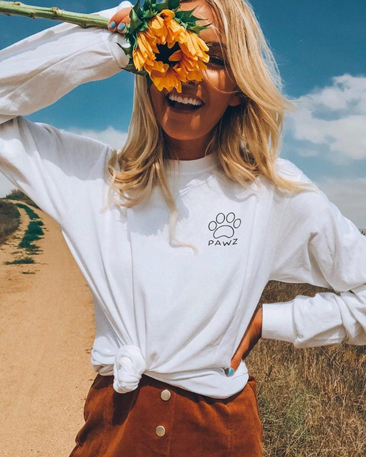 Long Sleeve White Sunflower Print